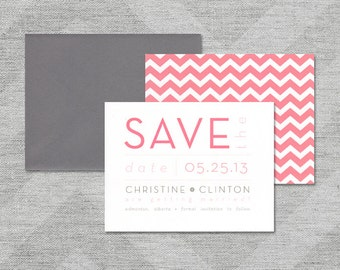 "Modern Wedding Save the Date, Chevron Save the Date, Grey, White and Pink Save the Date, Typography Save the Date - ""Christine"" DEPOSIT"