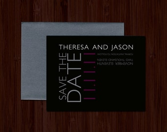"Modern Typographic Save the Date, Black and Purple Wedding Save the Date, Grey Wedding Sate the date - ""Jessica"" DEPOSIT"