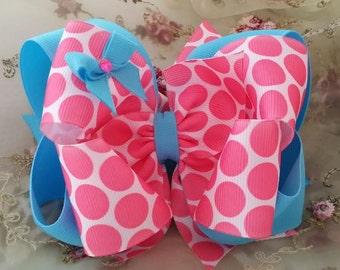 Pink and Aqua Hair Bow....Hot Pink Polka Hair Bow....Spring Hair Bow...Aqua and Pink Bow..Girls Boutique Hair Bow