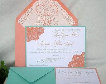 Coral Peach n Turquoise Blue Aqua Teal Blue Lace Wedding Invitation Doily Lace Envelope Lace Wedding Invitation Invitation Custom Any Color
