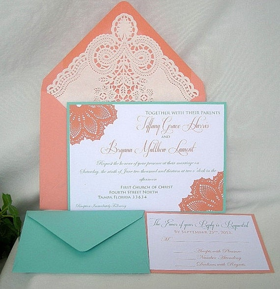 Coral Colored Wedding Invitations: Lace Wedding Invitation Coral Peach N Turquoise Blue Aqua