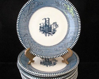 8 Currier and Ives Blue Steamboat Saucers by Royal China (USA) Vintage 1950s Set of 8