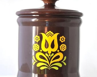 West Bend Brown Aluminum Small Canister with Yellow Tulip Design Vintage 1970s