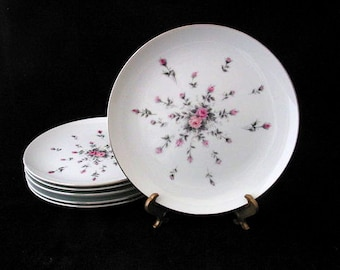 6 Harmony House Rosebud Salad Plates with Pink and Gray Roses Vintage 1950s Set of 6