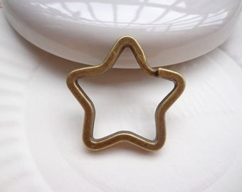 SALE--Key Rings ---20PCS --Antique Bronze Star