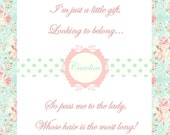 "Baby Shower Game - Pass The Gift - Printable - ""Shabby Chic"""