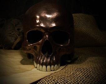 Copper Human Skull with teeth