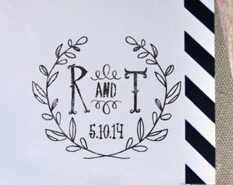 Monogram Stamp, Self Inking, Wood Mounted, Wedding stamp, Housewarming Gift - FREE SHIPPING - Wreath Laurel Initials