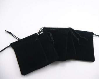 10 Pcs - Small Black Velvet Drawstring Pouches 2 Inch wide x 2 6/8 Inch long BAG001