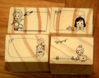 A set of 4 Rubber Stamps - Message Bubbles