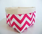 Chevron Storage Basket Fabric Organizer in Zig Zag Candy Pink and Canvas, Toy, Nursery Storage, Home, Office - Choose Size