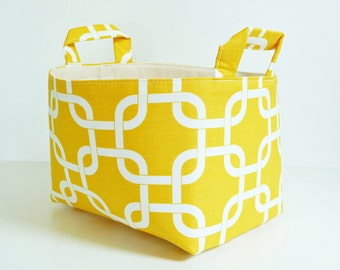Storage Basket Fabric Organizer with Handles in Chainlink Yellow and White - Gift Basket - Hostess Gift