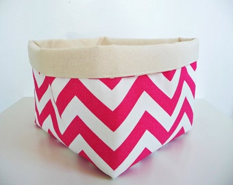Chevron Storage Basket Fabric Organizer in Zig Zag Candy Pink and Canvas, Toy, Nursery Storage, Home, Office - Choose Size
