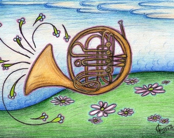Post card with french horn drawing, musical instrument card, colorful hand drawn, music landscape, musician collectors item