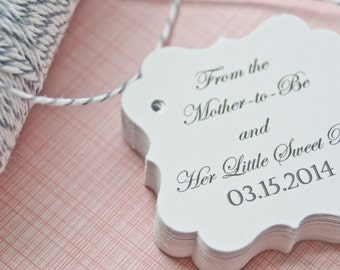 Baby Shower Gift Tags-Baby Shower -Thank You Tags- Due For Delivery-Baby Established-Customized Favor Tags-Gift Tags-Set of 40