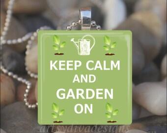 KEEP CALM and GARDEN On Gardening Plant Lover Spring Flower Glass Tile Pendant Necklace Keyring