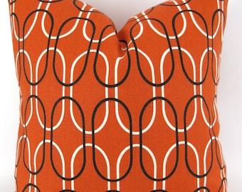 Orange Geometric Pillow Cover -MANY SIZES- Orange & Brown Decor, Rust Orange Throw Pillow, Custom Shiba Sweet Potato Premier Prints FREESHIP