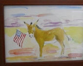 Burro with American Flag, original Watercolor print framed by Marina
