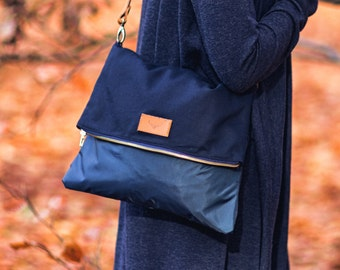 Navy blue, cotton crossbody bag RAY / natural leather handles and removable strap