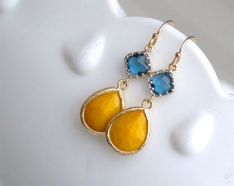 Navy and Mustard Earrings - Navy Blue and Yellow - Gold Filled Earwire - Mustard Earrings - Mustard Yellow Dangle Earrings - Bridesmaid