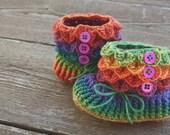 Crochet Baby Booties. Crocodile Stitch Baby Booties. Baby Slippers. Rainbow Baby Booties. Merino Wool. 6-12 Month Size. Baby Socks Baby Gift