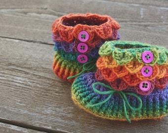 Baby Booties. Crochet Baby Booties. Baby Socks. Rainbow Baby. Baby Gifts. Crochet Baby. Crochet. Baby Boots. Crocodile Booties. Baby Items.