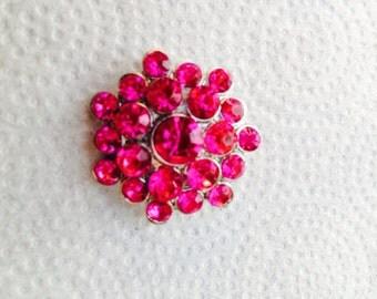 Vintage rhinestone magenta flower brooch
