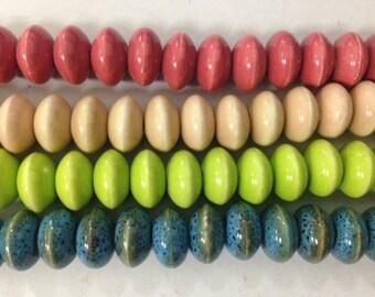 12mm rondelle porcelain beads, 42beads