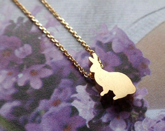 matte gold bunny necklace, gold rabbit necklace, gold charm necklace, minimalist bunny rabbit