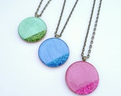 Pastel Pendant, Shimmer and Glitter Pendant, Geo Circle Wood Pendant, Handmade festive necklace
