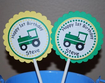 Tractor Cupcake Toppers - Set of 12 Personalized Birthday Party Decorations