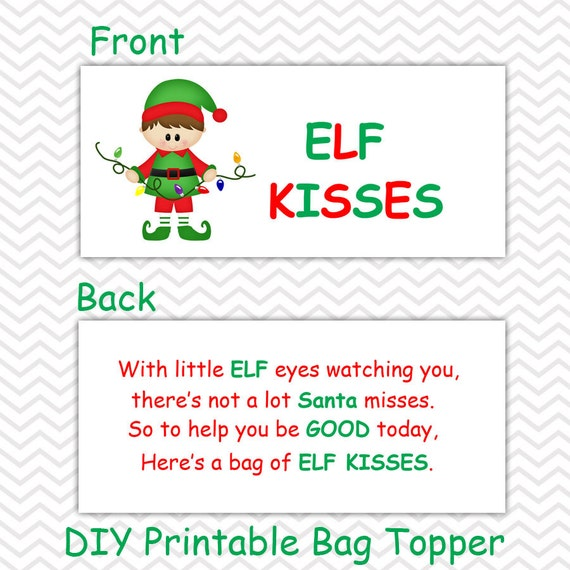 Items similar to Christmas Elf Kisses Boy - Personalized ...
