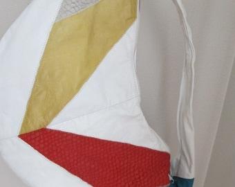vintage color block Slouch Purse Classic 80s trend GEOMETRIC chevron white leather Shoulder Bag