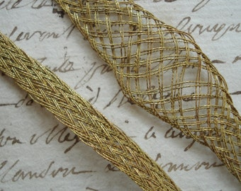 Rare Antique c1920's French Metal Thread Mesh Spreadable Metallic Ribbonwork Art Flower Base Ribbon Lace Trim Flapper Applique Embroidery