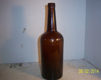 1940's PF Heering Copenhagen Denmark Round AMBER Quart Whiskey Bottle 10 5/8  inches tall