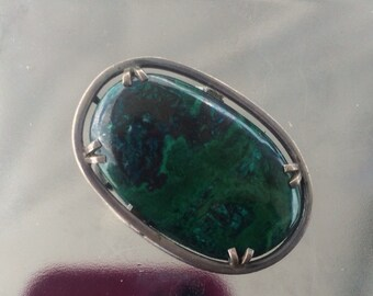 """Vintage sterling """"Israel"""" genuine Green turquoise brooch and pendant"""