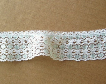 "4 yards white and blue green gently gathered lace trim 1.5"" wide"