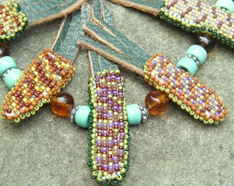 Beadwork Indian Corn Necklace, Green, Brown, Turquoise
