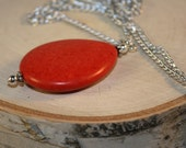 Long Necklace with Large Red Bead, Red Coral