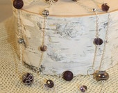 Long Beaded Necklace- Plum Purple and Silver Mixed Beads- One of a Kind