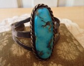 Incredible Turquoise cuff Sterling Silver Bohemian Indian style cuff bracelet xs
