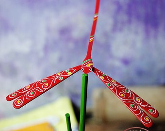 """100 Bamboo dragonflies - Handcrafted Self Balancing Dragonfly size 3"""", 4"""" & 5""""  - wooden toy for party"""