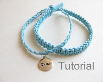 Débutants nouée bracelet macramé modèle pdf tutoriel deux dans un bleu comment à bijoux argent instructions charm Noël cadeau tuto diy