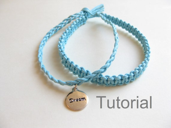 Knotted bracelet beginners macrame pattern tutorial pdf two in one blue how to jewelry instructions silver charm christmas gift tuto diy