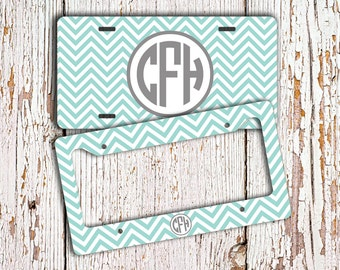 monogram chevron license plate or frame chevron car tag bicycle license plate bike tag car accessories bike accessory blue white 9846