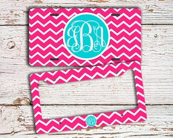 Monogrammed chevron license plate or cover - Hot pink chevron Light blue monogram, Chevron personalized car tag bicycle license bike  (9695)