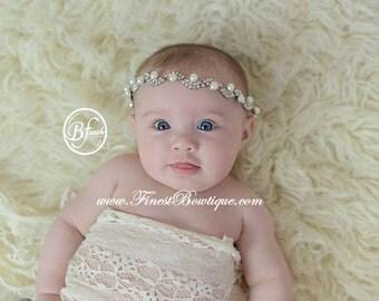 BOHEMIAN PRINCESS HEADBAND - Photo Prop .. Baby Girl Halo .. Baby Headband .. Flower Headband .. Baby Bow Headband .. Newborn Headband