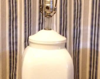 Mid Century Modern White Ceramic Lamp Lucite Base