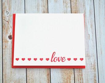 Letterpress love card , letterpress valentine , valentine's day, valentine's card, letterpress hearts , red heart, pink , LOVE
