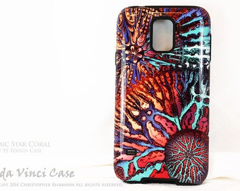 Abstract Ocean Coral Galaxy S5 Case - TOUGH dual layer S 5 Case with Vibrant Coral Reef Art - Cosmic Star Coral